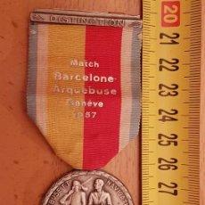 Coleccionismo deportivo: MEDALLA 1957 TIRO BARCELONA-ARQUEBUSE-GENEVE.MARCADA-HUGUENIN-¿PLATA?VER DETALLES.. Lote 115533415