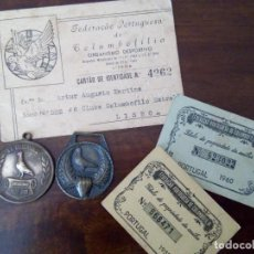 Collectionnisme sportif: 2 MEDALLAS, CARNET Y 2 TÍTULOS PROPIEDAD DE ANILLA DE COLUMBOFILIA.. Lote 115688347