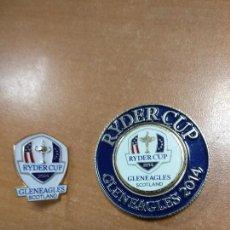 Coleccionismo deportivo: MEDALLA IMANTADA DE RYDER CUP GLENEAGLES 2014 Y PIN. Lote 124159851