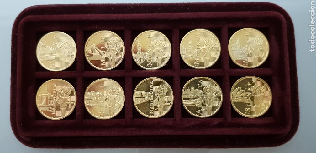 COLECCION COMPLETA 10 MONEDAS OLIMPIADAS 1964-2000 BAÑADA ORO 22K CERTIFICADO (Coleccionismo Deportivo - Medallas, Monedas y Trofeos - Otros deportes)