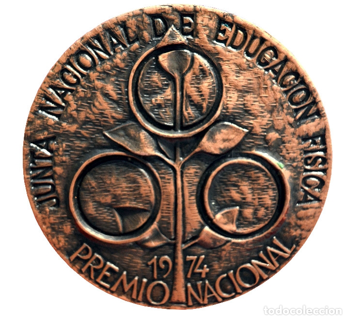 Coleccionismo deportivo: GRAN MEDALLA EN BRONCE PREMIO NACIONAL 1974 JUNTA NACIONAL DE EDUCACION FISICA 300 GRAMOS - Foto 3 - 54202330
