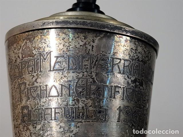 Coleccionismo deportivo: Trofeo de tiro al pichon. Copa Mediterrania tiro al pichon artificcial 1935. - Foto 3 - 140506430