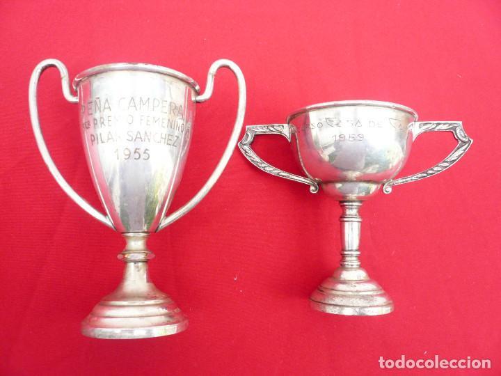 TROFEO DE ALPACA. PAREJA: 1 DE 1955 Y OTRO DE 1959 (Coleccionismo Deportivo - Medallas, Monedas y Trofeos - Otros deportes)