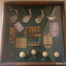 Coleccionismo deportivo: CUADRO DECORATIVO DE GOLF CON PIESAS ORIGINALES. Lote 145649820
