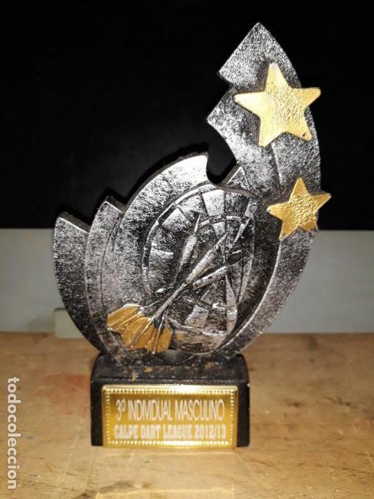 COPA TROFEO DE DARDOS 3º INDIVIDUAL MASCULINO CALP CALPE DART LEAGUE 2012 13 DIANA 15 CM ALTO X 9 CM (Coleccionismo Deportivo - Medallas, Monedas y Trofeos - Otros deportes)