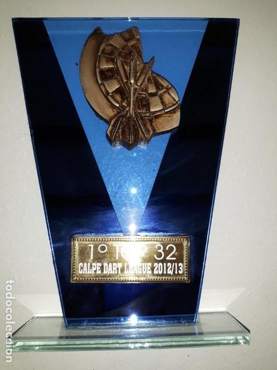 COPA TROFEO DE DARDOS 2º TOP 32 CALP CALPE DART LEAGUE 2012-13. CRISTAL DIANA DARDOS 16 CM ALTO X 12 (Coleccionismo Deportivo - Medallas, Monedas y Trofeos - Otros deportes)