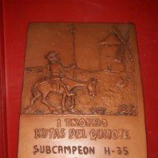 Collectionnisme sportif: 1 TROFEO RUTAS DEL QUIJOTE SUBCAMPEÓN H-35 C.D.B. ORIENTACIÓN CIUDAD REAL VENTA CÁRDENAS ABRIL 2000. Lote 166432570