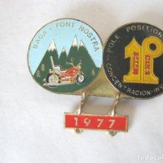 Coleccionismo deportivo: INSIGNIA MOTO POLE POSITION M.C. CONCENTRACION INVERNAL BAGA-FONTY NOSTRA 1977. Lote 166793218