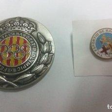 Coleccionismo deportivo: TIRO OLIMPICO MEDALLA CONMEMORATIVA DEL 20 ANIVERSARIO JUEGOS OLIMPICOS BARCELONA 92 + PIN BARCELONA. Lote 167495288