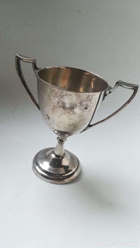 Coleccionismo deportivo: Trofeo alpaca año 1921 - Foto 2 - 173670305