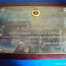 Coleccionismo deportivo: (F-190902)PLACA DE LA REAL FEDERACION DE NATACION A LA NADADORA OLIMPICA SILVIA PARERA JULIO 1997. Lote 175761965