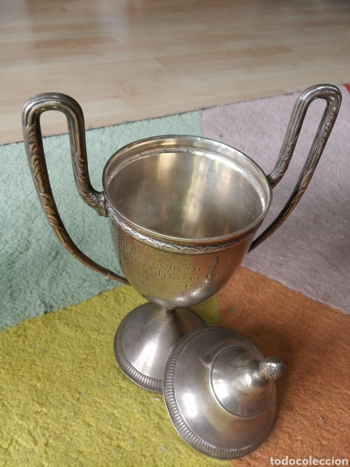 Coleccionismo deportivo: Trofeo ,tiro al pichón, Amorebieta, 1924 - Foto 3 - 181168218