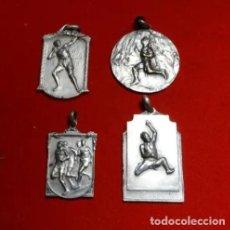 Coleccionismo deportivo: 4 MEDALLAS DE LOS AÑOS 1930-50 DE ATLETISMO, CON LEYENDAS. MARATON SALTO DE LONGITUD PESO. Lote 192311372