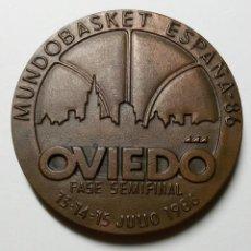 Coleccionismo deportivo: MEDALLA CONMEMORATIVA MUNDOBASKET ESPAÑA 86 OVIEDO JULIO DEL 86 BALONCESTO. Lote 193252236