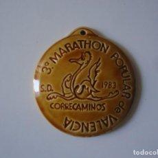 Coleccionismo deportivo: MEDALLA EN CERAMICA 3º MARATHON POPULAR DE VALENCIA S.D. CORRECAMINOS PUBLICIDAD YOPLAITT. Lote 193632552