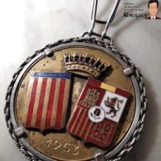 Coleccionismo deportivo: RARA MEDALLA AÑO 1953 - TORNEO MARCA - MATCH PARÍS / BARCELONA (ESCUDO ESPAÑA - ARAGÓN Y CATALUÑA). Lote 194330510