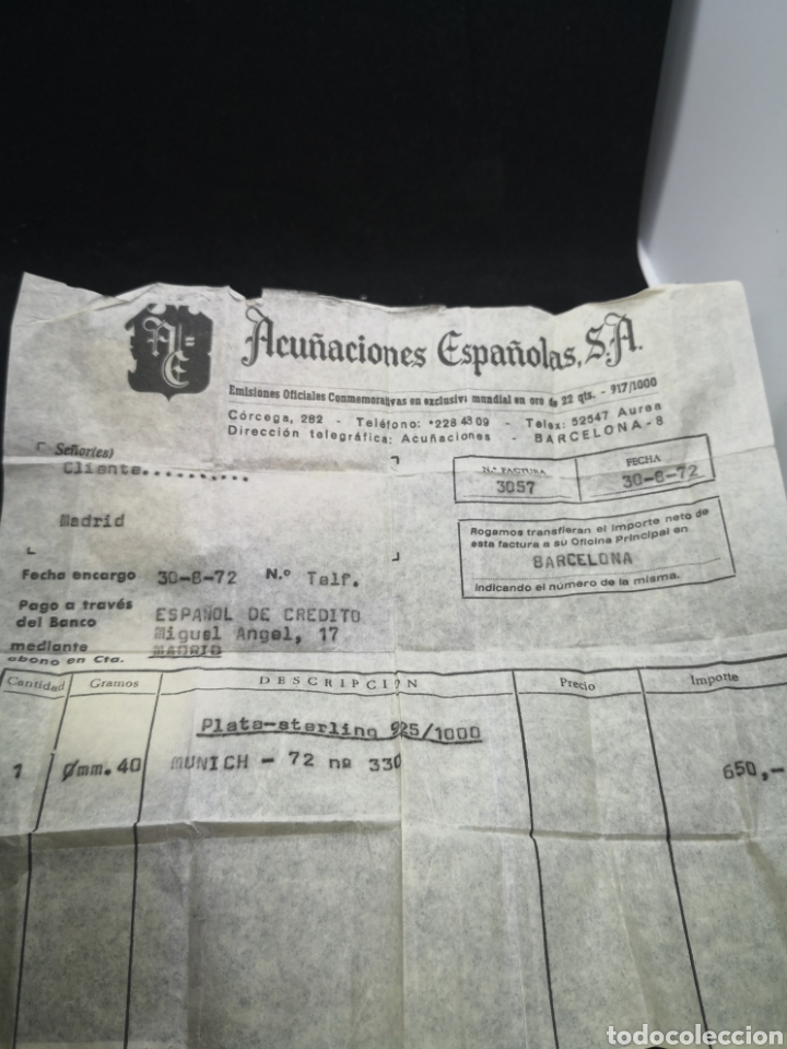 Coleccionismo deportivo: Medalla colgante juegos olímpicos Munich en plata acuñaciones españolas - Foto 4 - 194392061