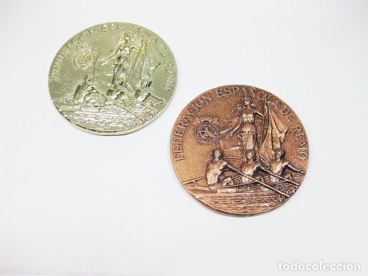 MEDALLA DE ORO PLATA Y BRONCE DE LA FEDERACIÓN ESPAÑOLA DE REMO (Coleccionismo Deportivo - Medallas, Monedas y Trofeos - Otros deportes)