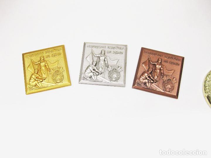 MEDALLA DE ORO PLATA Y BRONCE DEL CAMPEONATO DE ESPAÑA DE LA FEDERACIÓN ESPAÑOLA DE REMO - LEGUTIANO (Coleccionismo Deportivo - Medallas, Monedas y Trofeos - Otros deportes)