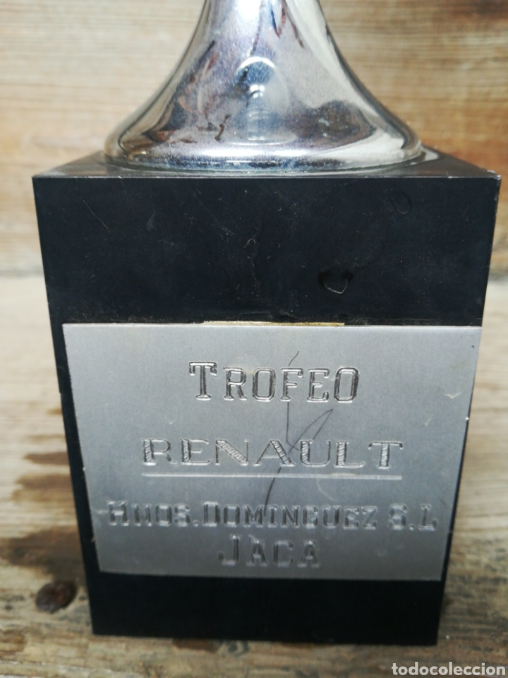 Coleccionismo deportivo: Copa trofeo de tiro al plato Trofeo Renault. Años 80 cáliz pichón. - Foto 2 - 199942348