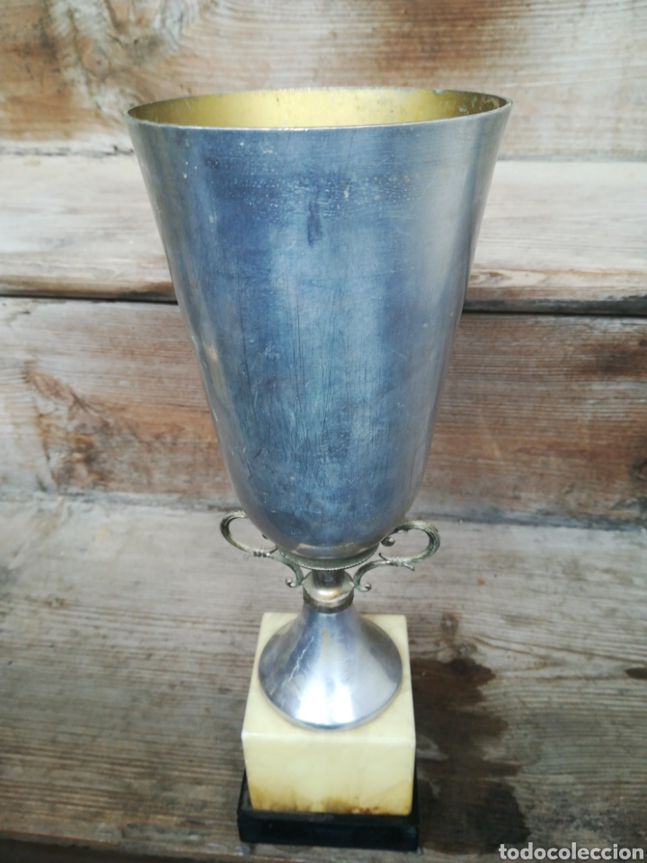 Coleccionismo deportivo: Copa trofeo de tiro al plato Ara (Huesca) 1986 cáliz pichón - Foto 3 - 199942713