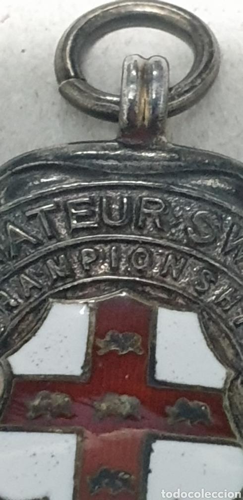 Coleccionismo deportivo: Antigua rara medalla de plata de ley 925 de competición natacion - Foto 2 - 202038587