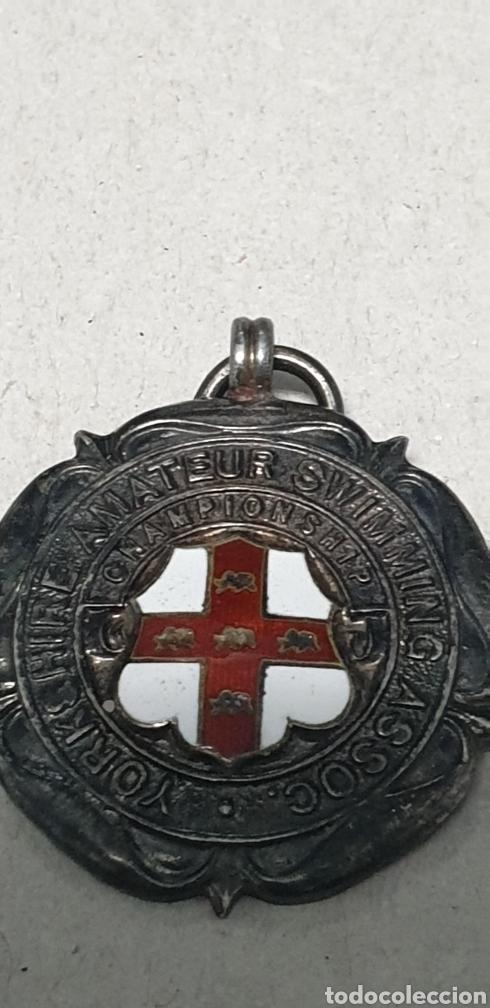 Coleccionismo deportivo: Antigua rara medalla de plata de ley 925 de competición natacion - Foto 5 - 202038587