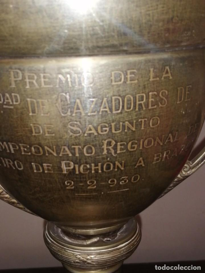 Coleccionismo deportivo: Copa Trofeo tiro al pichón sagunto 1930 - Foto 2 - 206376580