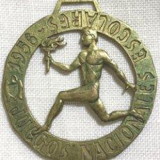 Collectionnisme sportif: MEDALLA - JUEGOS NACIONALES ESCOLARES - AÑO 1956 - FALANGE - SEU. Lote 208037097