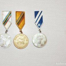 Coleccionismo deportivo: LOTE TRES MEDALLAS SOVIETICAS .MAS ALTO .MAS RAPIDO .URSS. Lote 209293317