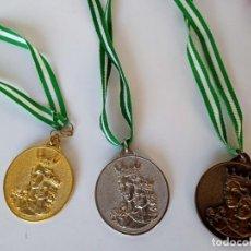 Coleccionismo deportivo: LOTE DE TRES MEDALLAS, ORO, PLATA Y BRONCE, SALESIANOS, MARÍA AUXILIADORA. Lote 211570422