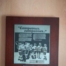 Coleccionismo deportivo: VIZCAYA HOCKEY CLUB. CAMPEÓN LIGA 1981-82. PLACA FIRMADA POR LOS JUGADORES.. Lote 219476787