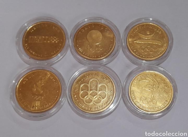 Coleccionismo deportivo: 6 Monedas Olimpiadas Oro Laminado, diferentes. - Foto 2 - 240145985