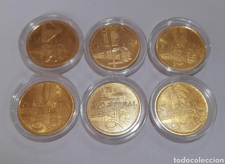 6 MONEDAS OLIMPIADAS ORO LAMINADO, DIFERENTES. (Coleccionismo Deportivo - Medallas, Monedas y Trofeos - Otros deportes)