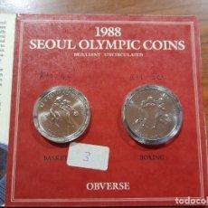 Collezionismo sportivo: 1000 Y 2000 WON OLIMPIADA SEUL 1988 EN ESTUCHE. SC. Lote 242968230