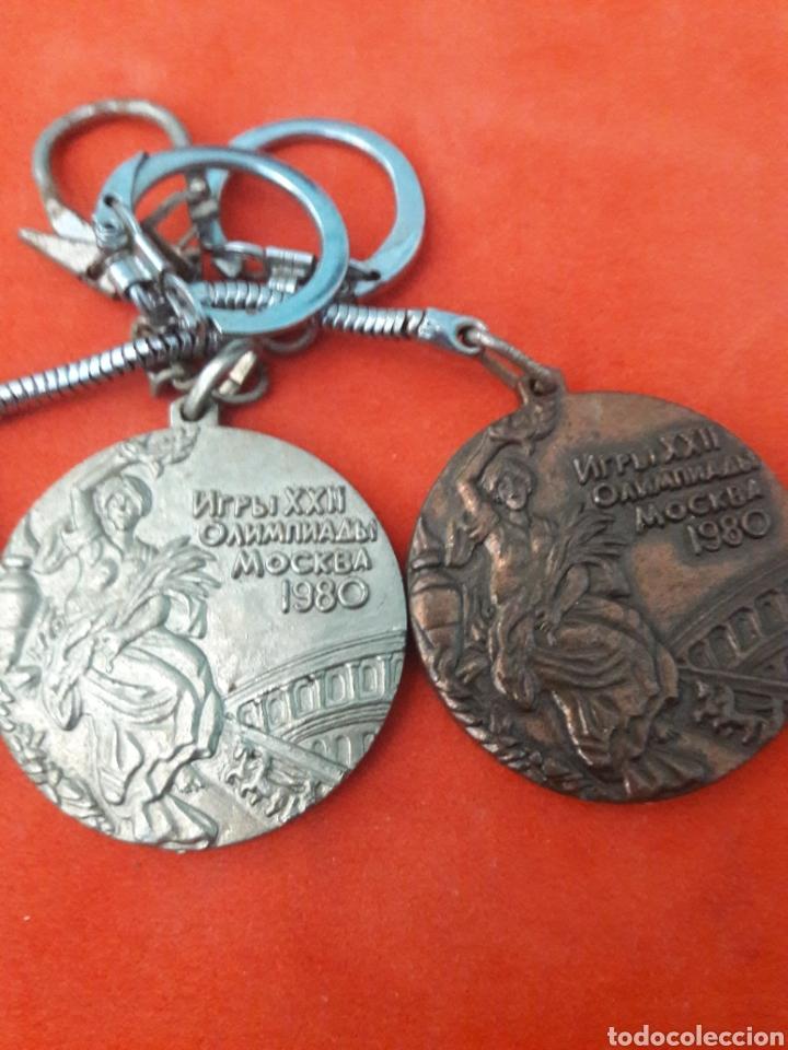 Coleccionismo deportivo: LLAVEROS MEDALLAS JUEGOS OLÍMPICOS MOSCÚ 1980 ORO , PLATA Y BRONCE 4CM - Foto 3 - 246022045