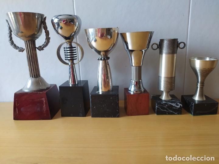 LOTE DE 6 TROFEOS TIRO OLIMPICO, TEMATIZADOS AIRE COMPRIMIDO. (Coleccionismo Deportivo - Medallas, Monedas y Trofeos - Otros deportes)
