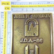 Coleccionismo deportivo: MEDALLA MEDALLÓN DE LOS JUEGOS DEPORTIVOS DE ANDALUCÍA MÁLAGA 86 1986. 120GR. Lote 262089370