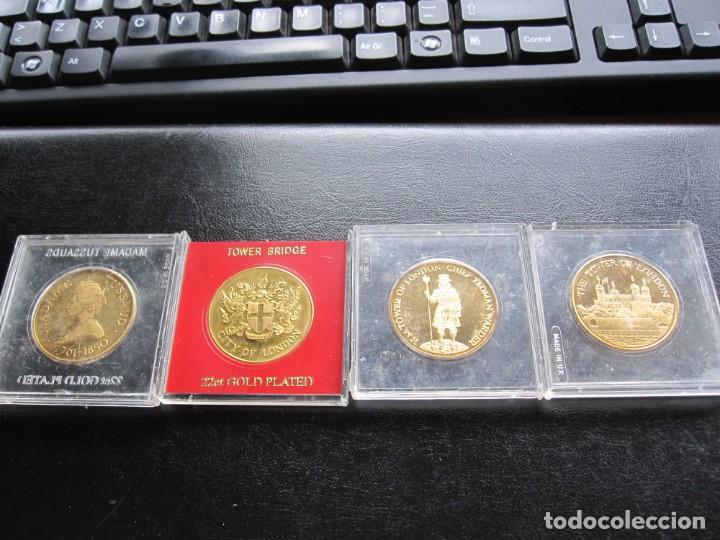 LOTE DE CUATRO MEDALLAS CONMEMORATIVAS DE ORIGEN INGLES (BAÑO DE ORO 22 QUILATES) (Coleccionismo Deportivo - Medallas, Monedas y Trofeos - Otros deportes)