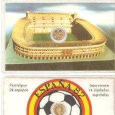 Coleccionismo deportivo: FICHA PLASTIFICADA CON PEQUEÑA MONEDA DE 100 PESETAS JUAN CARLOS I.ESPAÑA 82.. Lote 26886586