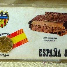 Coleccionismo deportivo: TARJETA PLASTIFICADA, MUNDIAL 1982, MONEDA OFICIAL, LUIS CASANOVA, VALENCIA, FUTBOL. Lote 21858121