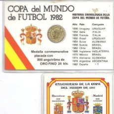 Coleccionismo deportivo: PS3394 LOTE DE DOS CARNETS-CALENDARIO DEL MUNDIAL DE 1982 CON MONEDA DE ORO Y PESETA. Lote 28477770
