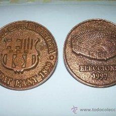 Coleccionismo deportivo: DOS MEDALLAS EN RELIEVE ELECCIONS 1977...FUTBOL CLUB BARCELONA.. Lote 56255819