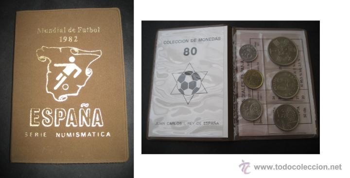 ESPAÑA FUTBOL MUNDIAL 82 SERIE NUMISMATICA. CARTERA CON 6 MONEDAS 1980. SIN CIRCULAR (Coleccionismo Deportivo - Medallas, Monedas y Trofeos de Fútbol)