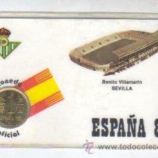 Coleccionismo deportivo: CARNET ESPAÑA 1982 MONEDA OFICIAL -REAL BETIS BALONPIE - BENITO VILLAMARIN DE SEVILLA. Lote 44224762