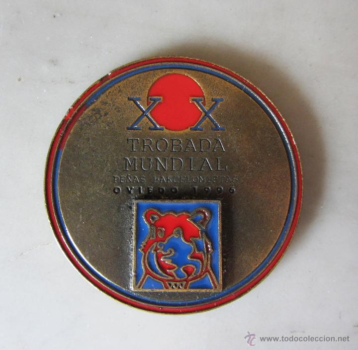 MEDALLA XX TROBADA MUNDIAL PEÑAS BARCELONISTAS OVIEDO 1996 FCB (Coleccionismo Deportivo - Medallas, Monedas y Trofeos de Fútbol)