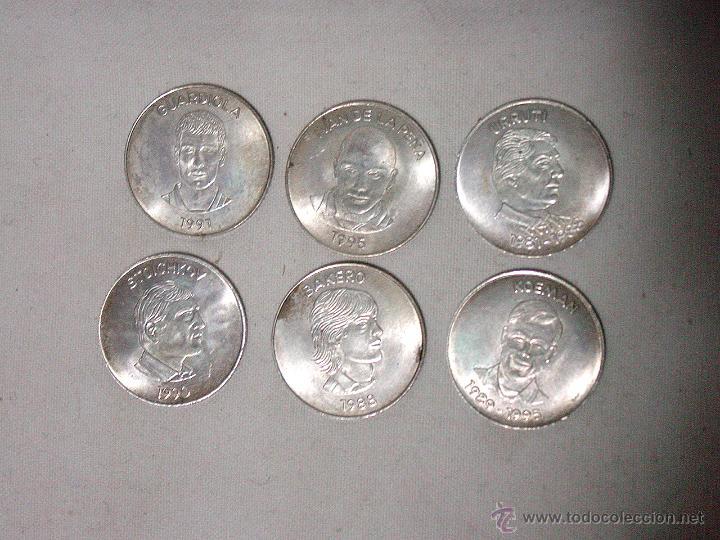 lote 6 monedas plata. jugadores. f.c. barcelona - Comprar Medallas ... 13a00de4416