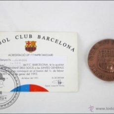 Coleccionismo deportivo: MEDALLA FÚTBOL CLUB BARCELONA - ACREDITACIÓ DE COMPROMISSARI - AÑOS 1991-1993 - 50 MM DIÁMETRO. Lote 47424832