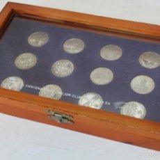 Coleccionismo deportivo: 12 MONEDAS PLATA CENTENARIO REAL MADRID 1902-2002 CON ESTUCHE (DIARIO MARCA). Lote 58305048