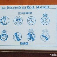 Coleccionismo deportivo: LOS ESCUDOS DEL REAL MADRID, BAÑADO EN ORO BLANCO , COLECCION MARCA ED. LIMITADA Y NUMERADA. Lote 62457020